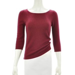 LORD & TAYLOR BURGUNDY CASHMERE SWEATER SIZE S